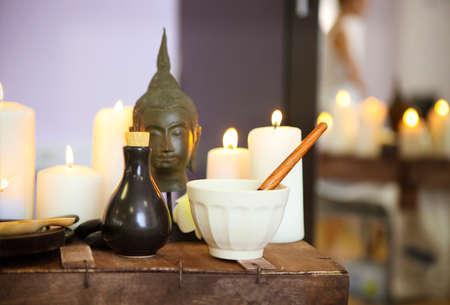 Elements of spa massage in spa salon Standard-Bild