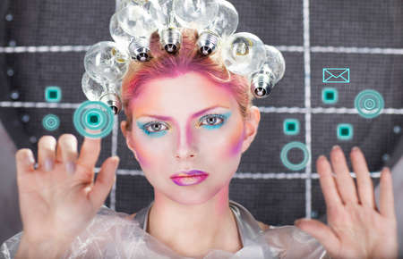 concept magical universe: Futuristic young beautiful woman with creative make up