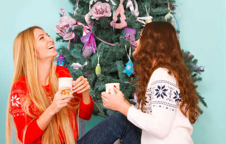 female christmas: Two smiling female friends having Christmas coffee by the Christmas tree