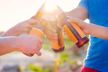 Group of friends having a summer beach party. Close up Standard-Bild