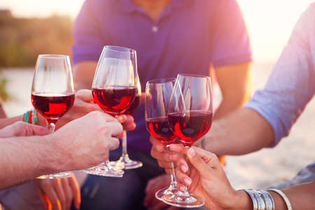 young adults: People holding glasses of red wine making a toast at the beach picnic Stock Photo