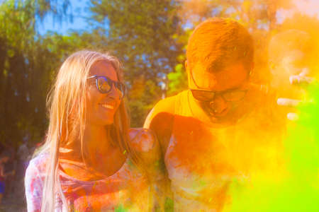 indian culture: Portrait of happy couple in love on holi color festival Stock Photo