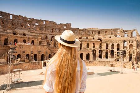 dungeons: Woman in Tunisia El Jem roman apmphitheatre. Largest colosseum in in North Africa. El Jem,Tunisia. Stock Photo