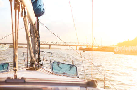sailboat: Sailboat detailed parts. Yachting concept. Shallow depth of field
