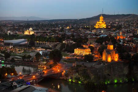 crist: Night view to Old town of Tbilisi, Georgia (country)
