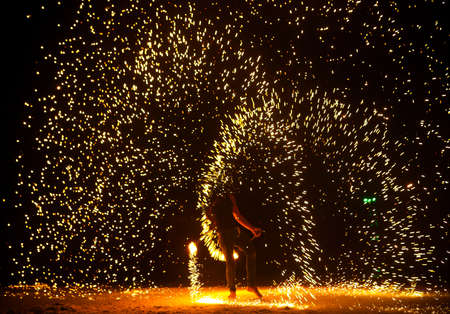 firestarter: Firestarter performing amazing fire show at Koh Samed. Thailand Stock Photo