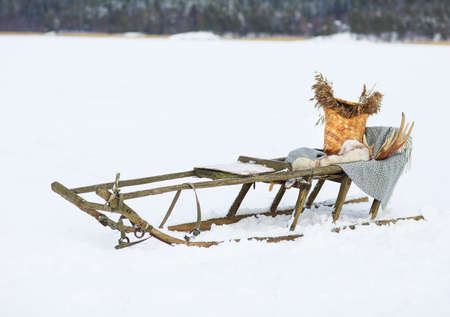 huskies: Old dog sled in tundra with decoration Stock Photo