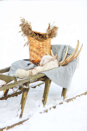 dog sled: Old dog sled in tundra with decoration Stock Photo