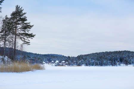 karelia: Winter frozen lake Ladoga. Karelia, Russia