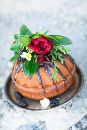 tort: Chocolate cake decorated with fresh blackberry and flowers on rustic gray background