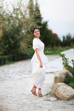 Portrait Young Bride With Brunette Hair In White Wedding Dress ...