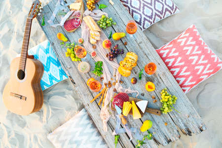 Top view beach picnic table outdoors. Beach party