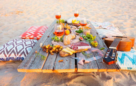 Top view beach picnic table. Beach party
