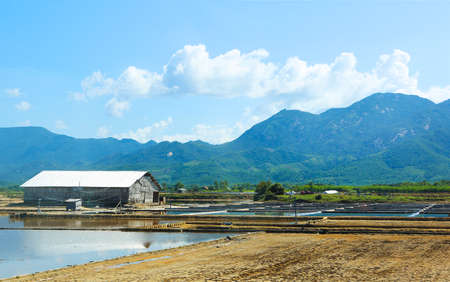 Transparent landscape with shrimp feeding farms in Vietnam Stock Photo