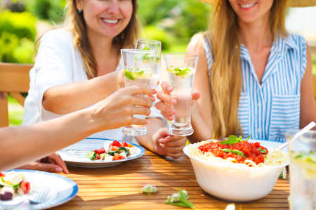 Happy female friends with glasses of lemonade at dining table in lawn. Close up