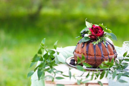 Chocolate cake decorated with flowers against a light green background with copy space