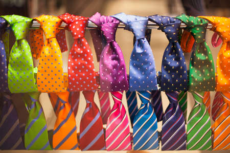 tailored: Neckties in the shop. Men fashion and shopping concept