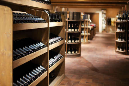 Champagne bottles in wine store