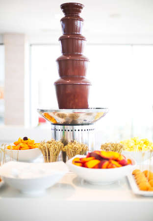 Chocolate fondue with fruits on the table