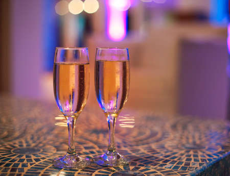 Two champagne glasses on the table  Stock Photo
