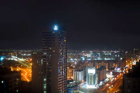 View of Fujairah City in the night. United Arab Emirates, Middle East