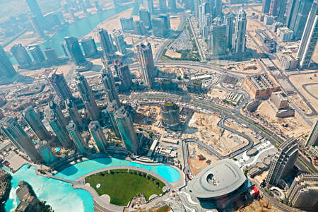 Dubai, UAE. Aerial view from the height of a tall building