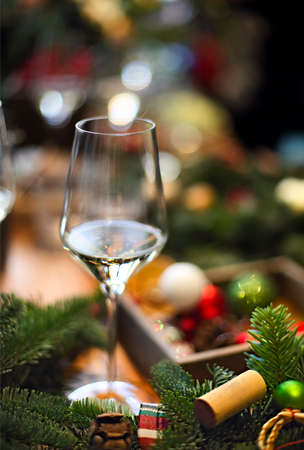 Traditional Christmas table setting, Christmas decoration on the wooden table