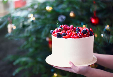 Woman holding Christmas Cake decorated with berries by the Christmas tree Stok Fotoğraf