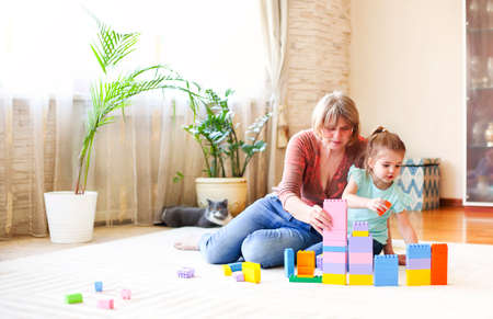 Cheerful mature woman watching little girl building tower from bricks while playing on floor at home together