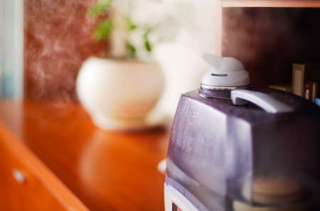 Closeup of modern air humidifier placed on wooden shelf with potted plant in cozy room at home