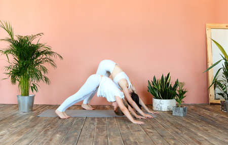 Smiling woman and little girl practicing yoga while standing on mat in cozy living room Stock fotó