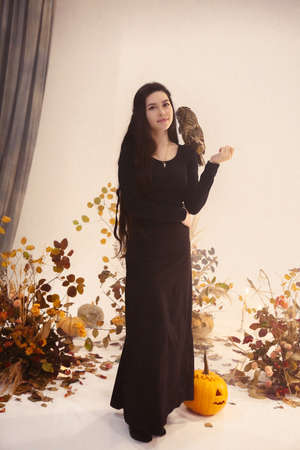 Positive smiling young female dressed in black witch costume with owl on her sholder against light wall with tree branches