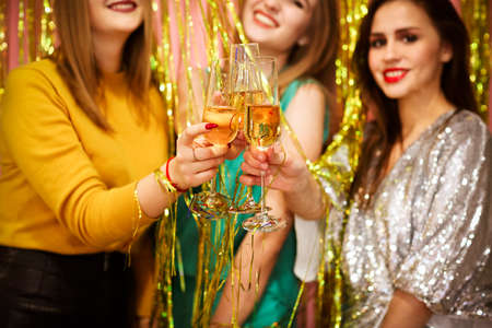 Female friends clinking glasses of wine while having fun during luxury party together