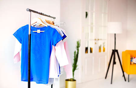 Rack with various feminine shirts placed in minimalist style room with white walls