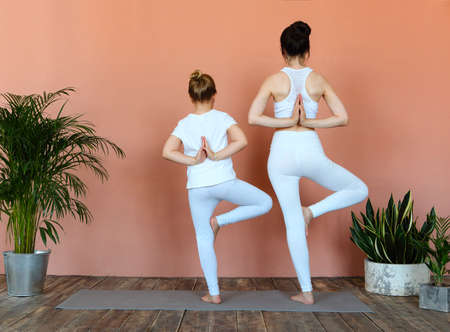 Smiling young woman and little girl practicing yoga on mat in cozy living room Archivio Fotografico