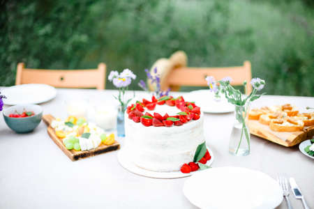 Tasty cake with berries placed on banquet table near flowers and dishware on summer day in garden