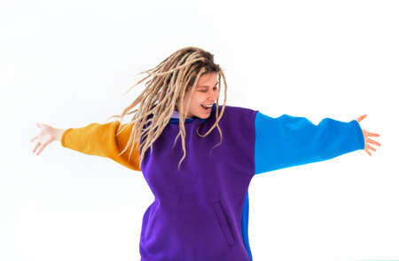 Real caucasian woman with dreadlocks hairstyle funny cute cheerful face