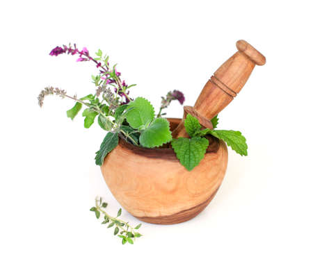 High angle of fresh herbs and pestle placed in olive wooden mortar isolated on white background
