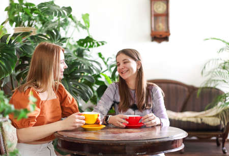 Cheerful modern female friends with mugs drinking coffee ant chatting while enjoying time together sitting against a lot of plants