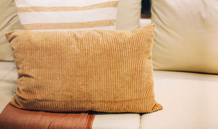 Set of various pillows with different natural ornaments and colors arranged on sofa in modern apartment