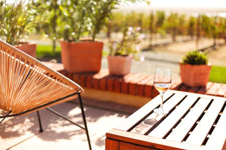 Glass of white wine on rustic wooden table and flower pots on terrace outside with vineyard hills landscape on sunny day morning in summer time