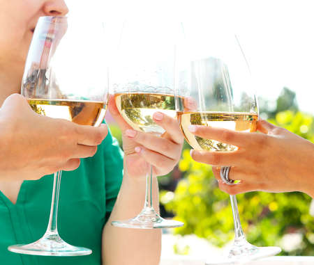 Group of anonymous people clinking wineglasses and proposing toast during party outdoors