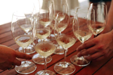 Glasses with different types of wine and human hands holding wine glasses in the background. Degustation wine