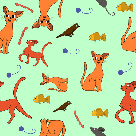 mammal: cat, kit, pattern drawing, kids  texture, textile, silhouette, domestic, decoration, set, mammal
