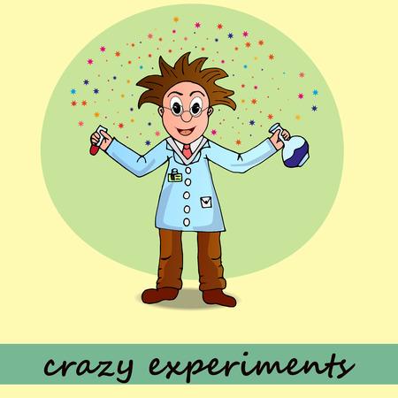chemist, vector, illustration, man, cartoon, character science, scientist, doctor, medical, portrait, people, drug, chemistry, happy, icon Vector Illustration