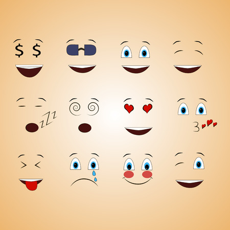 smile face: emotions face smile funny cute different set