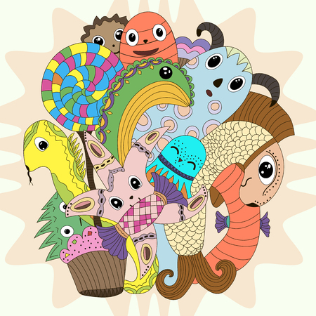 mythical: cute doodle monster mythical creatures Coloring cartoon Illustration