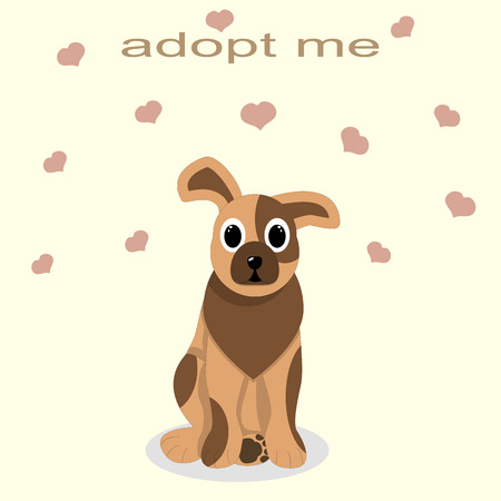 caring: adoption of shelter dogs, give love and caring, kindness Illustration