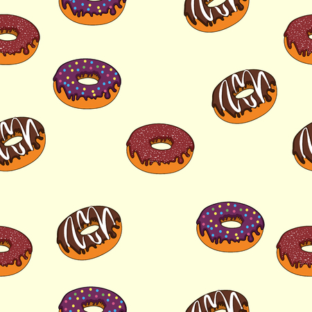 seamless texture delicious donuts with different fillings sweet dessert 矢量图像