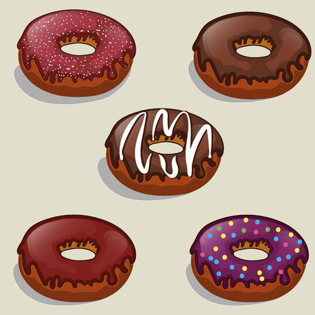 fillings: set of tasty donuts with different fillings sweet dessert